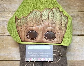 Baby Groot hooded towel, kids present, pool, beach and bathroom