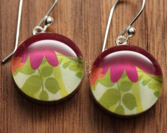 Springtime bouquet earrings made from recycled Starbucks gift cards. sterling silver and resin.