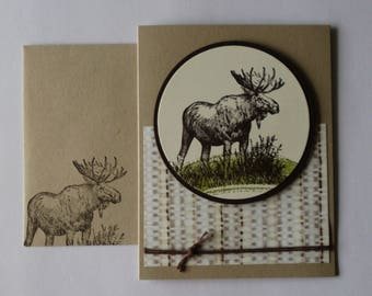 Blank Masculine Moose Card, Father's Day Card, Birthday Card for Him, Brown Stampin Up Walk in the Wild Card, Masculine Thank You Card