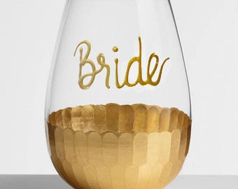 Bridesmaid Stemless Wine Glass, Personalized Bridesmaid Proposal Gift, Bridesmaid Wine Glasses, Hand Painted Custom Bridesmaid Wine Glass