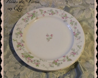 set of 3 antique Limoges dishes with PINK ROSES  France 10""