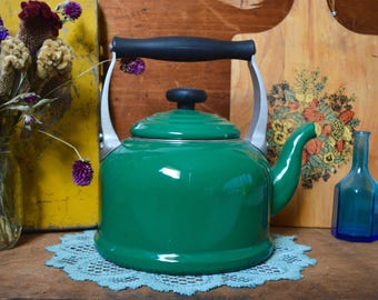 Vintage Green Le Creuset Enamel Enamelware Kettle Teapot Tea Pot Serving Decor