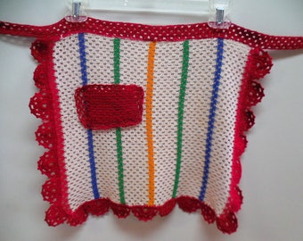 crocheted apron in multi colors vintage