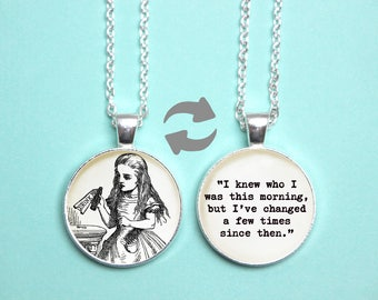 Alice in Wonderland Quote Reversible Pendant. Drink Me Quote Necklace. Knew Who I Was This Morning. Vintage Book. Literary Gift. Book Lover