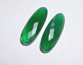 2 Pcs Very Beautiful Natural Green Onyx Faceted Fancy Oval Shaped Loose Gemstone Beads Size 30X11 MM