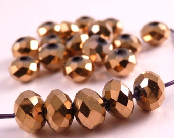Crystal Beads Gold Metallic Rondelles Gold Beads Gold Crystal Beads Metallic Beads Spacer Beads