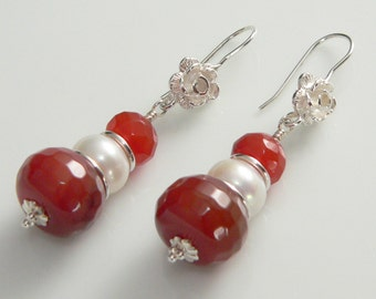 Faceted Carnelian Stones and Freshwater Pearls, with Sterling Silver findings.