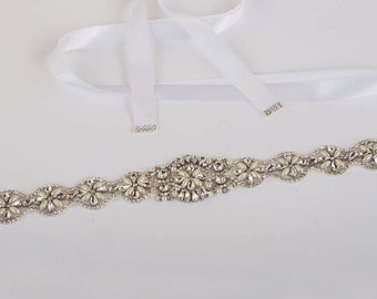 Luxury Rhinestone & Pearl  Bridal Sash Belt Satin Ribbon Wedding Dress Ivory / white