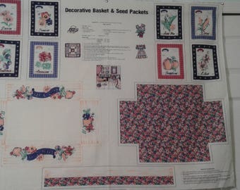 Decorative Basket & Seed Packets Fabric Panel