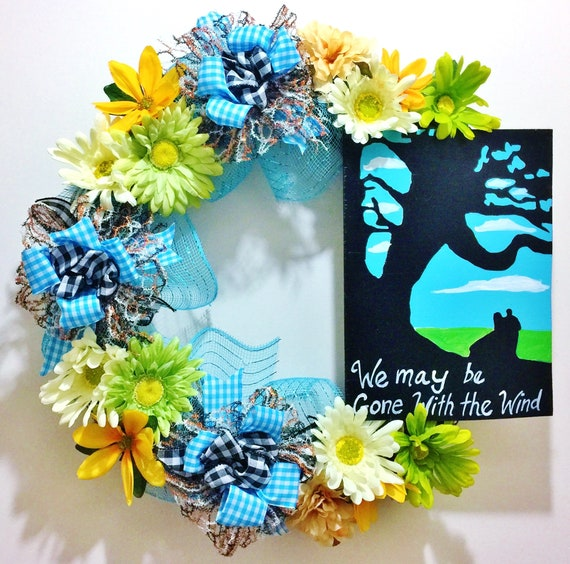 Gone With the Wind- Welcome Door Grapevine Wreath