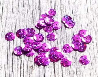 Hot Pink Round Cup Sequins with a faceted surface highlighting light reflections Costume and Craft Supplies 9mm diameter by DeeDeeSupplies