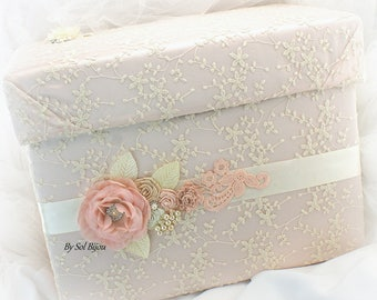 Wedding Keepsake Box,Ivory,Blush, Pink ,Bride Gift,Memory Box,Baby Keepsake,Card Box,Lace Keepsake Box,Vintage Style,Elegant,Pearls,Crystals