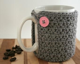 Crochet Cup Cozy - Coffee Cup Cozy - Grey and Pink - Mason Jar Cozy - Koozie - Pink Button