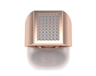 14K Rose Gold  Men's  Ring With  White  Diamonds M-MRG1005