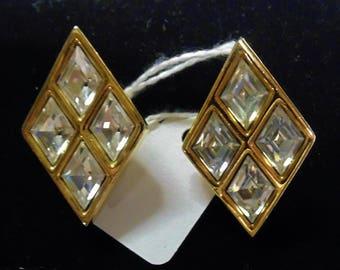 Swarovski  Diamond Shaped Rhinestone Earrings