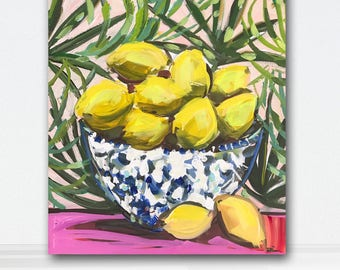 Lemons Citrus Print on Paper or Canvas Tropical Art Lemon
