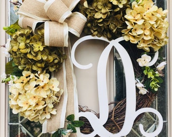 Green and Cream Hydrangea Front Door Wreath-Spring Front Porch Wreath