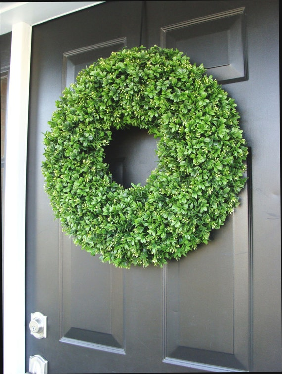 Charming SUMMER WREATH SALE Custom Artificial Boxwood Wreath Outdoor Year Round Door  Wreath Monogram Boxwood Wreath Spring Wreath Fall Wreath Christm