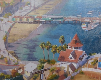 Catalina - Island - View - Avalon - California - Seaside - Shoreline - Beach - Aerial View - Painting - Original Oil - Landscape - Seascape