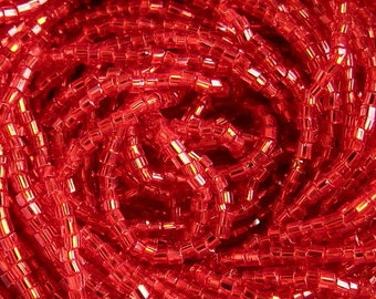 10/0 2 Cut  Hyacinth Orange Silver Lined | Hex Glass Czech Seed Beads 2.1 mm | Options: 6 Strands - Hanks | #97030
