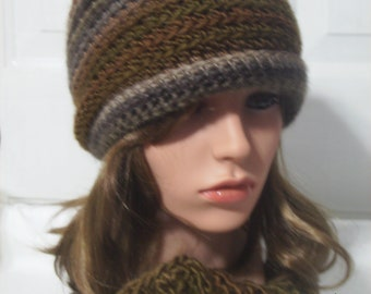 Crochet Cowl/neckwarmer and rolled brim hat set in nature woods
