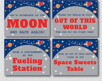 INSTANT DOWNLOAD - Printable Rocket Ship Birthday Party Signs - Outer Space Birthday - Set of 7 Party Signs
