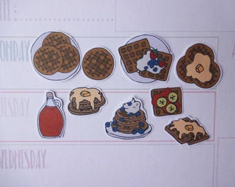 Waffles Planner Stickers, breakfast Stickers, food planner stickers, maple syrup stickers, waffles stickers