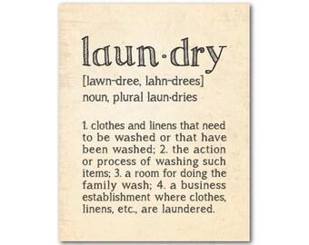 Wall Decor - Laundry Definition Typography PRINT - Laundry Meaning - Laundry Room Wall Art - Room Decor - chalkboard PRINT - Laundry Decor
