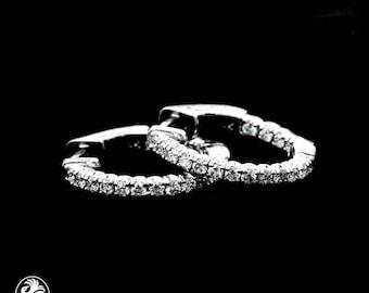 Diamond Hoop Earrings, Lever Back Diamond Earrings, Hoop Diamond Earrings, Diamond Huggie Earrings W/lever backs  | EAR01853