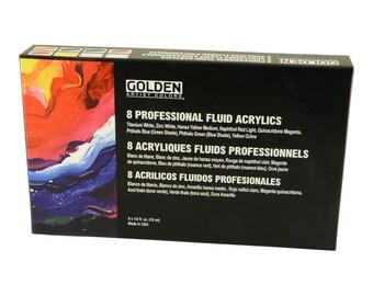 Golden Professional Fluid Acrylic Paint Set  8 x 15ml