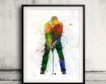 Man golfer putting silhouette 8x10 in. to 12x16 in. Poster Digital Wall art Illustration Print Art Decorative  - SKU 0506