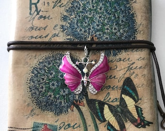 Pink Crystal butterfly charm for Traveler's Journal/ notebook