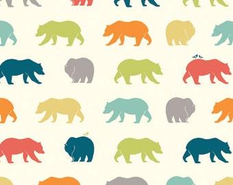 Bear Hike in Multi from Birch Organic Fabrics, Just for Fun Poplin Collection