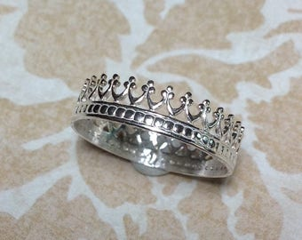Sterling Silver Crown Ring, Christian Jewelry, Faith Jewelry, Witness Jewelry, Women's Jewelry, Teen Jewelry, Artisan Jewelry, Metalsmith