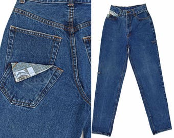 Vintage 80s High Waisted Jeans Unique Patched Gasoline Jeans Dark Denim Jeans Taper Leg Jeans High Waisted Jeans 80s Mom Jeans 25 W XS