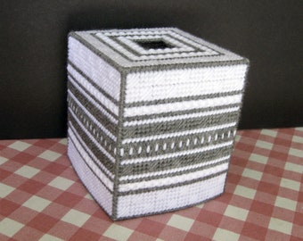Plastic Canvas Boutique Tissue Box Cover - Dusty Grey and White
