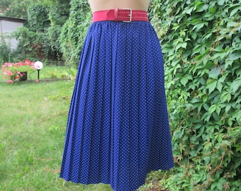 Pleated Skirt / Pleated Skirt Vintage / Pleated Skirts / Navy / White Polka Dots / Accordion Skirt / EUR 40 / 42 X UK12 / 14