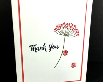 Thank You Card,  Customer Appreciation, Handstamped With Envelope, Single Flower, Handmade, Card For Thanks and Gratitude