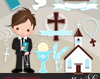First Communion Clipart for Boys. Cute Communion characters, graphics, bible, church, rosary, communion banner. First Communion Graphics.