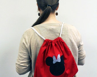 Minnie Mouse Drawstring Backpack by Funbows