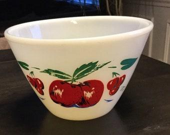 Fire King Milk Glass Apple Cherry Splash Mixing Bowl