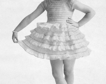 CROCHET PATTERN Vintage 1950s Little Bo Peep Toddler Flower Girl Wedding Party Dress Hairpin Lace Instant Download PDF