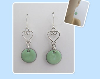 Robin's Egg Blue Circle Enamel Sterling Silver Heart Earrings