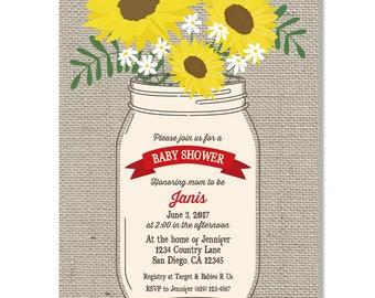 Mason Jar Burlap Rustic Baby Shower Invitation  - Digital File