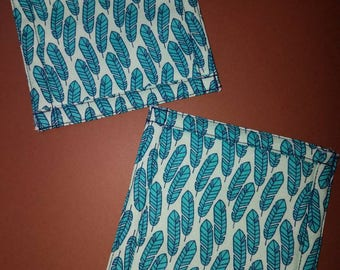 Blue Feather quilted coasters