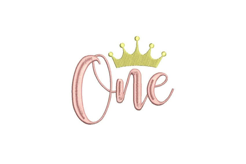 Whimsical Crown One First Birthday Machine Embroidery File