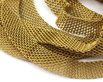 5 M -8x1mm Raw Brass Mesh Chain  - Mesh 041  ( Z085 )