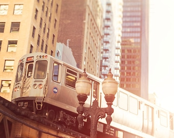 Chicago Art Print - CTA Train - Photograph of Elevated Loop Train - Skyline - Chitown El - Orange Line - Urban Landscape - Home Wall Decor