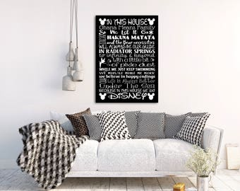 DISNEY HOUSE RULES Sign We Do Disney Decor Art Print Canvas