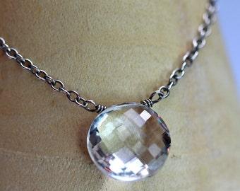 Rock Crystal Shield Pendant - April Birthstone - Gift - Necklace